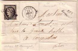 DROME - 25 REMUZAT CURSIVE + NYONS T15 - LE 14-2-1849 - N°3 OBLITERATION GRILLE - DEVANT DE LETTRE - INDICE 20 - Storia Postale