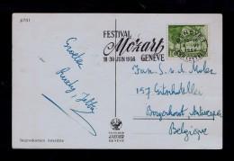 Real Photo Postcard Festival MOZART Geneve 1956 Suisse Slogan-pmk Music Musique Sp137 - Musik
