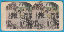 CANADIAN TROOPS AT QUEBEC WHARF ( Canada ) - Vintage Stereoscope Annciene Stereo Photo Card Carte Stéréoscopique - 1914-18