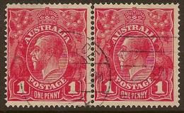 AUSTRALIA 1916 1d rose-red pair SG 47b U #LW35