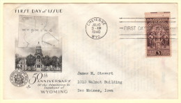 USA SC #897 FDC  1940 Wyoming Statehood (07-10-1940) W/fading, CV $9.50 - First Day Covers (FDCs)
