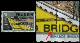 "Nigeria (EKO Bridge) 1n. (Sc # 306) Plate Error: Alphabet ""R"" Found Broken In The Text ""BRIDGE"" (Used) - Nigeria (1961-...)"