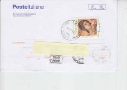ITALIA  2002 - ricevuta ritorno -Sassone  2711 -  Duccio di Buoninsegna - Museo Siena - pittura