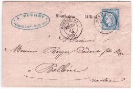 1876- Lettre De MONTLUCON ( Allier ) Cad T17 Sur N°60 Pour Bollène - Postmark Collection (Covers)