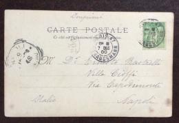 FRANCIA  1900 - 5 . ISOLATO SU CARTOLINA MILITARE DA PARIS A NAPOLI - Postmark Collection (Covers)