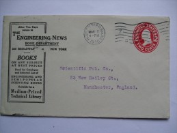 USA 1910 ADVERTISING COVER NEW YORK TO MANCHESTER ENGLAND - United States