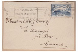 --FRANCE -- POSTE MARITIME -- VOYAGE INAUGURAL NORMANDIE -- LE HAVRE NEW-YORK   C -- MAI 1935 - Marcophilie (Lettres)