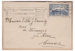 --FRANCE -- POSTE MARITIME -- VOYAGE INAUGURAL NORMANDIE -- LE HAVRE NEW-YORK   C -- MAI 1935 - Poststempel (Briefe)