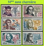 N° 1370 À 1375 HOMMES CÉLÈBRES 1963 : DAVIEL VIGNY VAUQUELIN MARIVAUX AMYOT MEHUL - N** SANS CHARNIÈRE NI TRACE - France