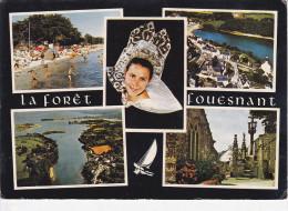 LA  FORÊT FOUESNANT (29-Finistère), Plage De Kerleven, Eglise Et Bourg, Baie De La Forêt, Calvaire, Coiffe, 1971 - La Forêt-Fouesnant