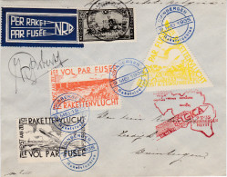 1935 - Rare sur lettre timbres dentel�s E7-E9 -  Sign�e ROBERTY   Courrier par fus�e Belgica