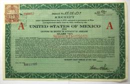 """1925  UNITED STATES OF MEXICO  Reçu Délivré Pour Coupons Arriérés Série """"A"""" 13$50 - Actions & Titres"""