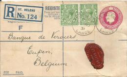 Grossbritannien Ganzsachen Einschreiben 1934  St.Helens   Eupen Belgien - Lettres & Documents