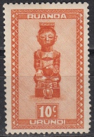 Ruanda-Urundi, 1931/38 - 10c Masks Of Baluba Tribe - Nr.90 MNH** - Ruanda