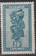 Ruanda-Urundi, 1931/38 - 20c Masks Of Baluba Tribe - Nr.92 MLH* - Ruanda