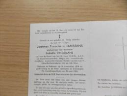 Doodsprentje Joannes Franciscus Janssens Stabroek 20/11/1874 Antwerpen 20/5/1965 ( Isabella Dingemans ) - Religión & Esoterismo