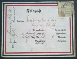 ETIQUETTE FELDPOST ENVOI DE COLIS 1916 Franchise Militaire - Marcophilie (Lettres)