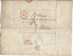 LAC Daté De Beveren C.rouge Beveren 18/4/1836 Taxé 3 V.Bruxelles C.d´arrivée PR1972 - 1830-1849 (Belgique Indépendante)