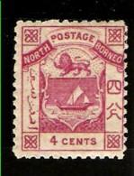 NORTH BORNEO 1883 4c SG6 LIGHTLY MOUNTED MINT PERF 12 Cat £60 - North Borneo (...-1963)
