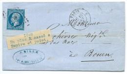 N° 14 BLEU NAPOLEON SUR LETTRE  / PARIS C POUR ROUEN / 18 AOUT 1860 / VARIETE - Marcophilie (Lettres)
