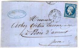 Devant De Lettre De LYON A BOIS D' AMONT (Jura)  - Cachet Ambulant De Lyon A Paris  Sur  Yvert 14 A   (76410) - 1853-1860 Napoleone III