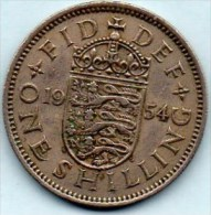 // GREAT BRITAIN / GRANDE BRETAGNE  1 ONE SHILLING 1954  ELIZABETH II  Engliish Crest - I. 1 Shilling
