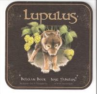 Sous-Bock-Carton Bière Belge -Lupulus-Belgian Beer-Loup-Louveteau-Houblon-Brasserie Les 3 Fourquets - Bierdeckel