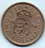 // GREAT BRITAIN / GRANDE BRETAGNE  1 ONE SHILLING 1954  ELIZABETH II  Scottish Arms - I. 1 Shilling