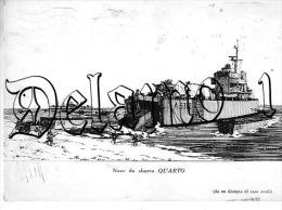 """Marina --Cartolina Disegno """""""" Nave Da Sbarco QUARTO """""""" Da Un Disegno Di Elio Andò , - Guerre, Militaire"""