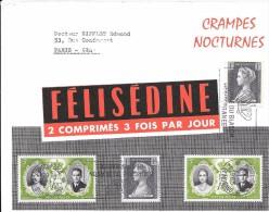 D5-Cartonnette Publicitaire Félisédine ,dim. 184x145mm , Timbres De Monaco N°478x2 Et 476x2 - Publicités