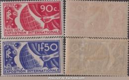 90c Et 1Fr50 Exposition De 1937 Neufs * TB ( Y&T N° 326 Et 327, Cote +50€) - Unused Stamps