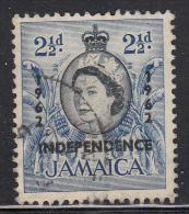 Jamaica Used Scott #187 2 1/2p Palm Trees Overprinted Independence 1962 - Jamaique (1962-...)