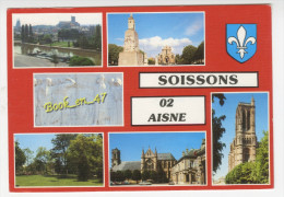 {54116} 02 Aisne Soissons , multivues ; Bords de l' Aisne , Jardin Public , Abbaye Saint L�ger , Vase de Soissons