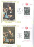 MONACO -  9.5.1974 - FDC  - RAINIER III 2 FDC ECRITURE EN ITALIQUE ET DROITE -  Yv BLOC 8 -  Lot 11601 - FDC