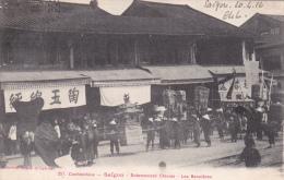 CPA Animée  COCHINCHINE  VIETNAM  SAÏGON Enterrement Chinois Les Bannières Cortège Tradition - Vietnam