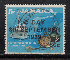 Jamaica Used Scott #289 50c On 5sh Port Royal Exploration Of Sunken City With 'C-Day 8th September 1969' Overprint - Jamaique (1962-...)