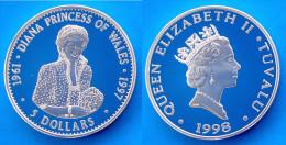 TUVALU 5 $ 1998 ARGENTO PROOF SILVER RARE DIANA PRINCESS OF WALES PESO 31,52g TITOLO 0,925 CONSERVAZIONE FONDO SPECCHIO - Tuvalu