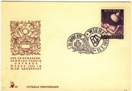 """1954 Austria Special Cachet Card With Good Stamp And Cancel """" 20 Years Orpheus Stamp Club"""" - 1918-1945 1st Republic"""