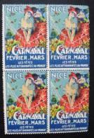 France- Vignette Erinophile ** Nice Carnaval 1937 Bloc De Quatre Coin Infèrieur Droit - Commemorative Labels