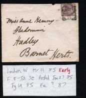 GB 1885 Cover London W Squared Circle Postmark (D128) - 1840-1901 (Victoria)