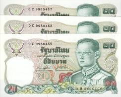 Thailand, 3 X 20 Baht, Pick 88, Sign. 73, 1981, SET, UNC ! - Tailandia