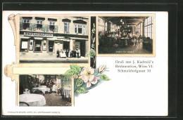 AK Wien, Burgtheater, Arbeitssaal & Gartenlokal In J. Kudrnac's Restaurant, Schmalzhofgasse 10 - Wien
