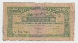 LEBANON 50 PIASTRES 1942 G-VG PICK 37 - Lebanon