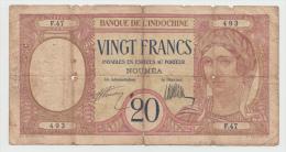 New Caledonia Noumea 20 Francs 1929 G-VG Pick 37a  37 A - Nouméa (Nuova Caledonia 1873-1985)