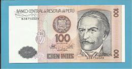 PERU - 100 INTIS - 26.06.1987 - Pick 133 - UNC. - RAMON CASTILLA - 2 Scans - Pérou