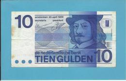 NETHERLANDS -  10 GULDEN - 25.04.1968 - Pick 91.b - FRANS HALS - 2 Scans - [2] 1815-…: Königreich Der Niederlande