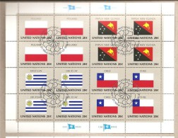 ONU New York - Foglietto FDC Serie Bandiere: Polonia; Papua Nuova Guinea; Uruguay; Cile - 1984 - New-York - Siège De L'ONU