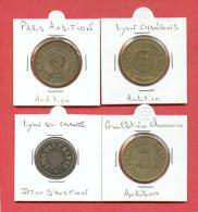 LOT DE 4 JETONS D'AUDITION DE LYON - Monétaires / De Nécessité