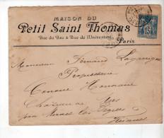Enveloppe - CAD Paris + Murviel - Sage 15c Bleu - Maison Du Petit St Thomas / Lagarrigue - 1888 - Marcophilie (Lettres)