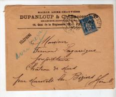 Enveloppe - CAD Paris + Murviel - Sage 15c Bleu - Maison Loise-Chauvière Dupanloup, Grainiers / Lagarrigue - 1894 - Marcophilie (Lettres)
